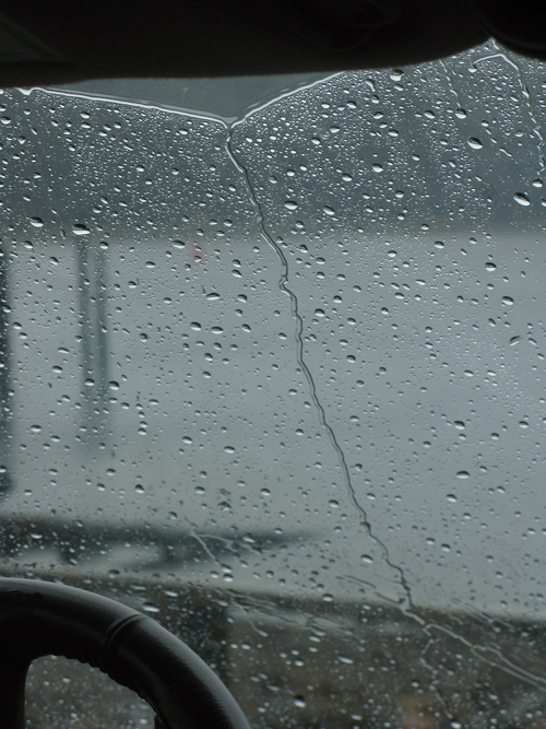raindrops on a windshield, Craig, Alaska