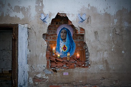 Virgin Mary, urban decay altar