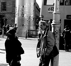 conversation by the spire (Brenda Malloy) Tags: city ireland dublin irish woman man streets sunshine spire conversation canon450 brendamalloy diogenes24