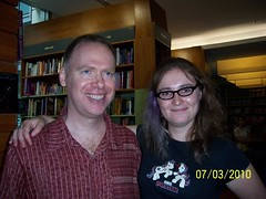 Scott Westerfeld and Foz Meadows at the Solace & Grief book launch in Sydney