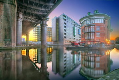 Evening In Castlefield (Asim237) Tags: uk bridge blue sunset sky reflections manchester bluehour railwaybridge castlefields asim237