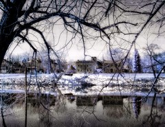 House Reflections (DaraDPhotography) Tags: homes lake texture nature landscape scenery infrared lightroom cs4 distressedjewelledtextures