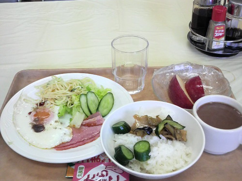 ohayo gozaimasu! gd morning! today's bfast, egg bacon rice etc.
