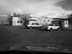 (davidteter) Tags: sky newyork newmexico bar decay signage trucks burgerstand oldroute66 stream:timeline=linear ricohgrd3