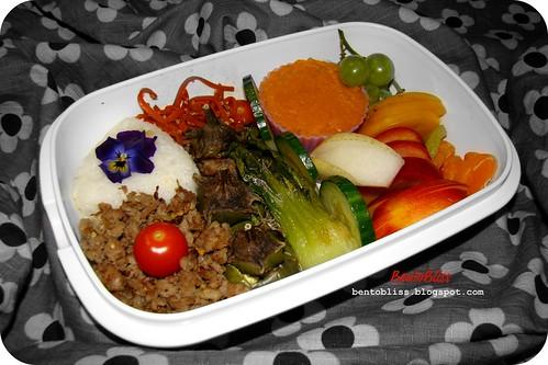 Baby pak choi & stuffed eggplant bento #2 - 15.03.2010