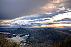 Lake Ocoee with Mushroom-Shaped Sunset HDR (Pheno Me Non) Tags: sunset lake mountains nikon tennessee nationalforest ocoee tva hdr cherokeenationalforest d90 lakeocoee photomatix