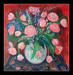 My Birthday's Pink Vase (Tran_Thaohien) Tags: red roses flower art rose painting artwork paint artist tulips drawing paintings creative vietnam tulip oil vase draw nam oiloncanvas tranh thảo hội чан việt trần hiền vẽ thị художник họa tranhsơndầu thaohien sơndầu hộihọa vẽtranh canval tranthaohien canvals họasỹviệtnam вьетнама hoasyvietnam тхи тхао хиен
