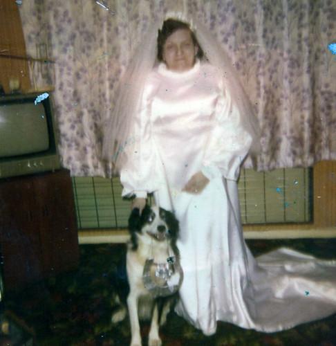 Margaret Gordon, wedding, Garthamlock, 1976.