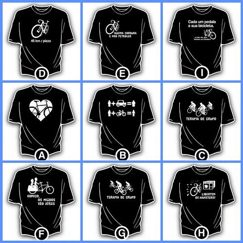 T-shirts de Cenas a Pedal - 1º lote de desenhos