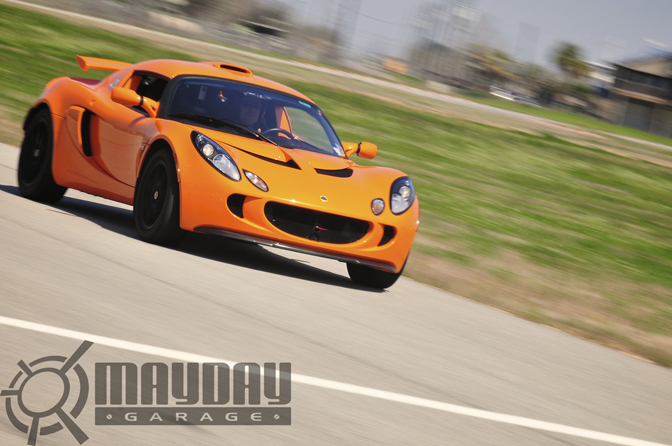A supercharged Lotus Elise takes to the track