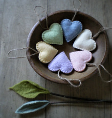 circle of spring (lilfishstudios) Tags: wool hearts recycled handmade pastel sewing bowl ornaments feltedwool lilfishstudios garmentwool woolleaves