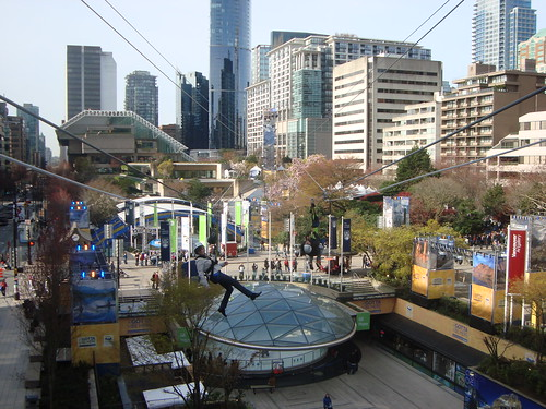 Vancouver 2010: Riding the Zipline at Robson Square