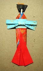 Toothpick doll 2 for Lori (tengds) Tags: blue red japan toothpick kimono obi ribbon papercraft japanesepaper washi ningyo handmadedoll chiyogami yuzenwashi japanesepaperdoll washidoll origamidoll toothpickdoll tengds origamiwashi