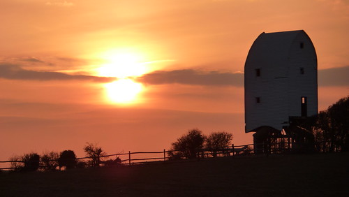 Ashcombe Windmill and the setting sun