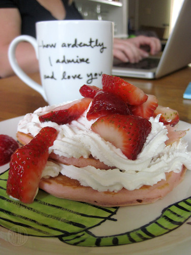 I ardently love strawberries, whipped cream and pink pancakes