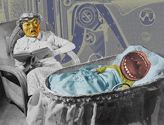 Will Someone Shut That Kid Up? I'm trying to read! (captainpandapants) Tags: baby photomanipulation vintage mouth ads advertising comedy child humor mother evil kitsch anger retro gas scream angry crib parody cry babysitting teething yell abuse carryon shout holler childcare whine photoshophumor photoshopfunnies