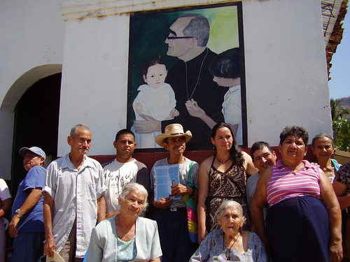 Villagers at Romero mural
