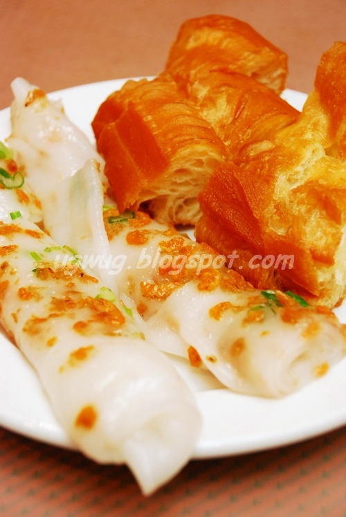 Dried shrimps steamed rice noodle & Chinese Crullers