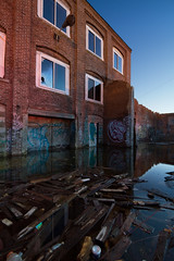 The Other Side (Jeremiah True) Tags: sunset reflection abandoned broken water true canon ma junk flood dusk massachusetts stevens 7d weathered photomerge manual jeremiah derelict 1022mm hdr trespassing haverhill canon7d jtrue