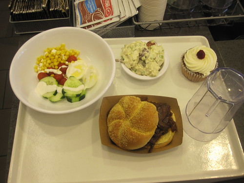 Pulled pork sandwich, salad, potato salad, cupcake, soda - $25 at National Museum of American History cafeteria