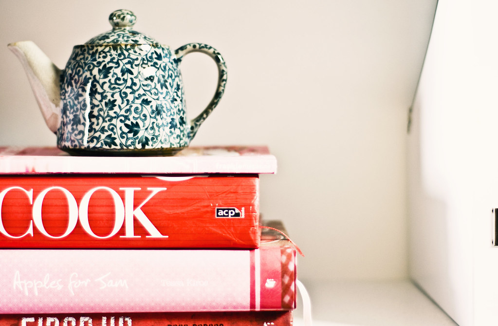 teapot on books