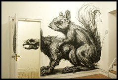 Roa - 'Squirrel Fun' (Romany WG) Tags: show street rabbit art animals dead fun graffiti gallery evil exhibition having pure roa piggybackrides