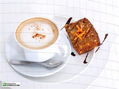 Snacktime with coffee and cake (Cocoy Jurado) Tags: morning italy food brown cup coffee cake dark buzz table relax dessert handle restaurant mugs