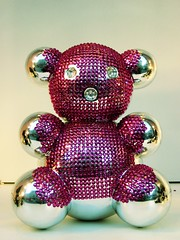 Bling bear (Simon Crubellier) Tags: bear city uk pink england london westminster canon teddy ixus mirrored windowdisplay westend rhinestones londonist simoncrubellier ixus70