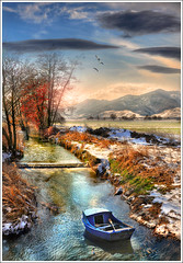 The blue boat (Jean-Michel Priaux) Tags: blue france art nature water fairytale photoshop river painting landscape boat nikon bravo magic dream rivire peinture dreaming bleu reflect fantasy alsace paysage hdr montain vosges barque anotherworld mattepainting bteau d90 coursdeau priaux