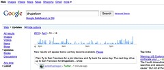 Timeline of realtime web on googles searches