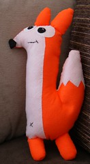 Clark The Fox Plush Soft Toy (Jo Tulley) Tags: orange animal shop felted toy diy neon bright handmade felt fox clark etsy scavenger sewn kidish