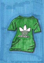 Adidas T-Shirt (Homemade Pop) Tags: art artwork artist folkart outsiderart folk originalart contemporary drawings pop popart homemade marker prints prismacolor foodart doodling 5x7 magicmarker foodpackaging pilotpen cheapart retroart brightart originalillustration quirkyart