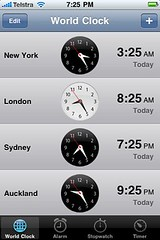 iPhone world clocks