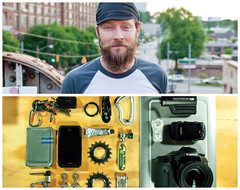 Christopher Diptych (J Trav) Tags: light portrait keys persona diptych wallet whatsinyourbag iphone pocketknife wacomtablet bicycleparts theitemswecarry canon7d mustachewax