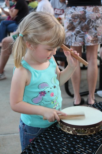 Catie rocking the tambourine at drum night