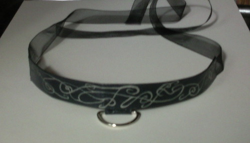 Black & silver choker with D-ring