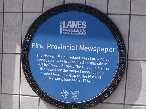 Discover Norwich Blue plaque of the First Provincial Newspaper