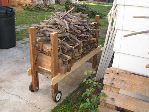 rack filled with scrap wood
