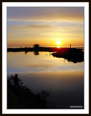 Sunset (Clayton Perry Photoworks) Tags: sunset sky sun canada man water beautiful grass silhouette skyline vancouver clouds reflections reeds fishing fisherman shadows bc britishcolumbia sony silhouettes richmond dyke steveston georgiastraight luluisland sonycybershotdsch20 claytonperry