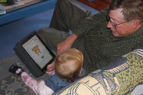 Nora and Grandpa using her iPad