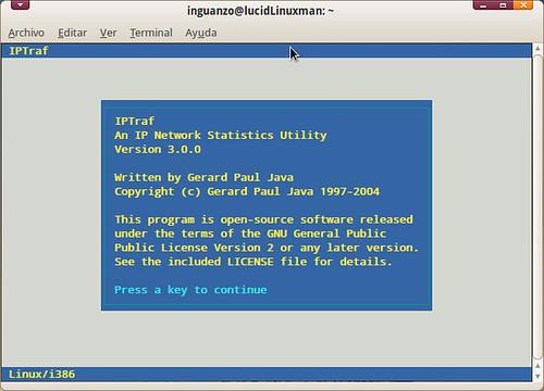 pantalla de inicio de iptraf