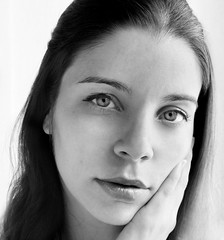 There Were So Many Things (AnnuskA  - AnnA Theodora) Tags: portrait anna woman white black beautiful face closeup hair eyes sad lips brazilian vulnerable
