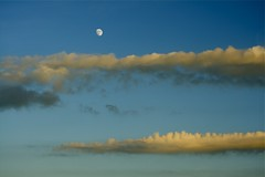 Moonrise at sunset (Fly bye!) Tags: sunset summer sky moon clouds moonrise
