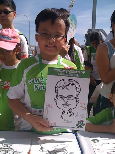 caricature live sketching for Cold Storage Kids Run 2010 - 11