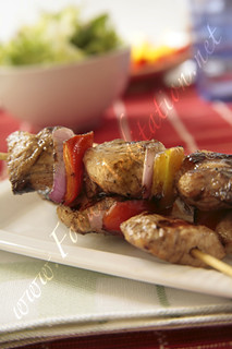 Meat - Grilled Chicken Kebabs [on white tablec...