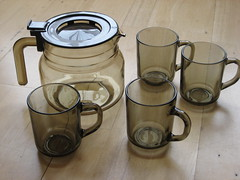 ARCOPAL / ARCOROC COFFEE SET (daisyladybird) Tags: brown france home cup kitchen glass coffee set vintage retro pot smokey mug jug 1970s pyrex arcoroc arcopal