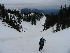Aidan starting the climb out of the snow basin.