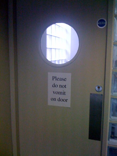 Please do not vomit on door