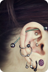 lovely complicated ears (natsukigirl) Tags: industrial lynn orbital ear plug pierce rook snug conch guage earpiercing earproject
