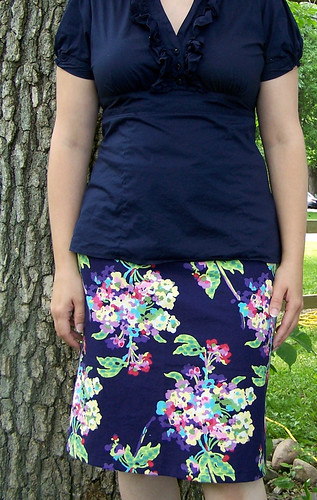 Midnight Blue Floral A-Line Skirt